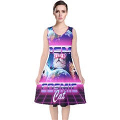 Cosmic Cat V Neck Midi Sleeveless Dress