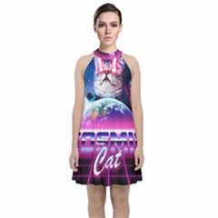 Cosmic Cat Velvet Halter Neckline Dress