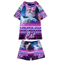 Cosmic Cat Kids  Swim Tee And Shorts Set