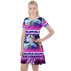 Cosmic Cat Cap Sleeve Velour Dress