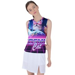 Cosmic Cat Women s Sleeveless Sports Top by goljakoff