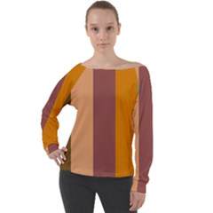 Stripey 15 Off Shoulder Long Sleeve Velour Top