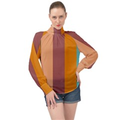 Stripey 15 High Neck Long Sleeve Chiffon Top by anthromahe