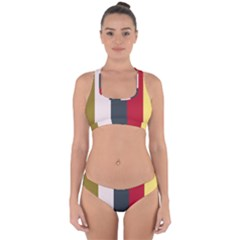 Stripey 18 Cross Back Hipster Bikini Set by anthromahe