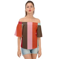 Stripey 19 Off Shoulder Short Sleeve Top by anthromahe