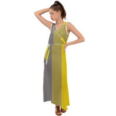 Stripey 21 V-neck Chiffon Maxi Dress by anthromahe