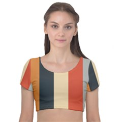 Stripey 22 Velvet Short Sleeve Crop Top  by anthromahe