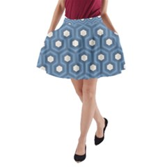 Blue Hexagon A Line Pocket Skirt