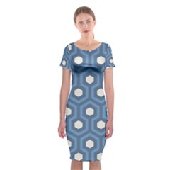 Blue Hexagon Classic Short Sleeve Midi Dress