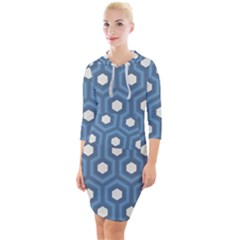 Blue Hexagon Quarter Sleeve Hood Bodycon Dress