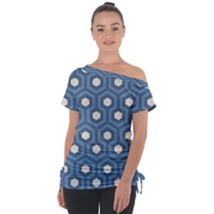 Blue Hexagon Tie Up Tee
