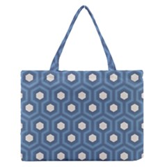 Blue Hexagon Zipper Medium Tote Bag