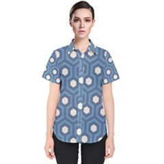 Blue Hexagon Women s Short Sleeve Shirt
