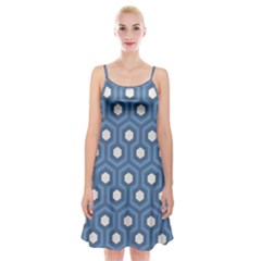 Blue Hexagon Spaghetti Strap Velvet Dress