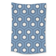 Blue Hexagon Large Tapestry