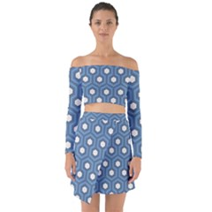 Blue Hexagon Off Shoulder Top With Skirt Set