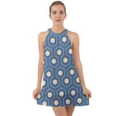 Blue Hexagon Halter Tie Back Chiffon Dress