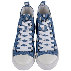Blue Hexagon Women s Mid Top Canvas Sneakers