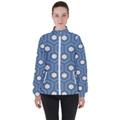 Blue Hexagon Women s High Neck Windbreaker