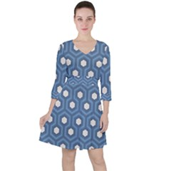 Blue Hexagon Ruffle Dress