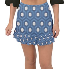 Blue Hexagon Fishtail Mini Chiffon Skirt