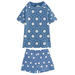Blue Hexagon Kids  Swim Tee And Shorts Set