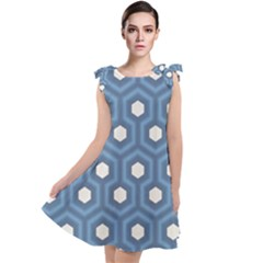 Blue Hexagon Tie Up Tunic Dress