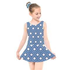 Blue Hexagon Kids  Skater Dress Swimsuit