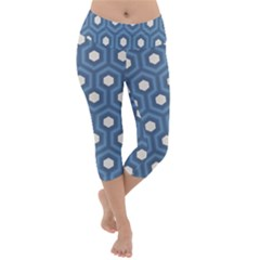 Blue Hexagon Lightweight Velour Capri Yoga Leggings