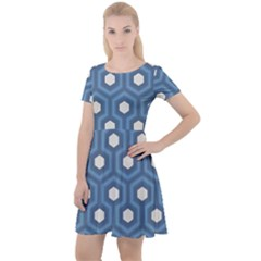 Blue Hexagon Cap Sleeve Velour Dress