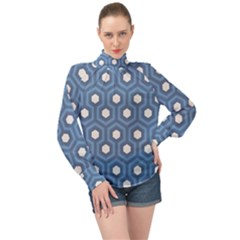 Blue Hexagon High Neck Long Sleeve Chiffon Top