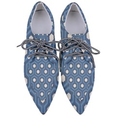 Blue Hexagon Women s Pointed Oxford Shoes