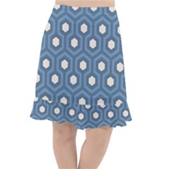 Blue Hexagon Fishtail Chiffon Skirt