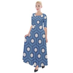 Blue Hexagon Half Sleeves Maxi Dress