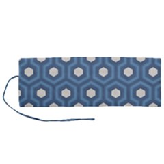 Blue Hexagon Roll Up Canvas Pencil Holder (m)