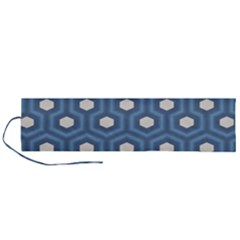 Blue Hexagon Roll Up Canvas Pencil Holder (l)