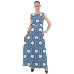 Blue Hexagon Chiffon Mesh Boho Maxi Dress