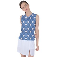 Blue Hexagon Women s Sleeveless Sports Top