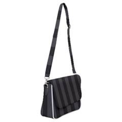 Black Stripes Shoulder Bag With Back Zipper