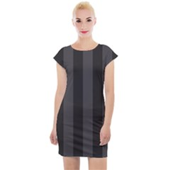 Black Stripes Cap Sleeve Bodycon Dress