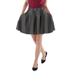 Black Stripes A Line Pocket Skirt