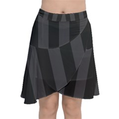 Black Stripes Chiffon Wrap Front Skirt