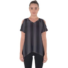Black Stripes Cut Out Side Drop Tee