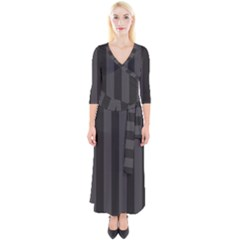 Black Stripes Quarter Sleeve Wrap Maxi Dress