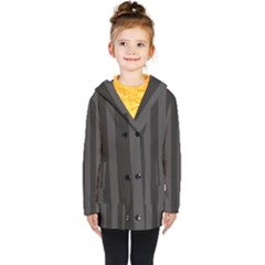 Black Stripes Kids  Double Breasted Button Coat