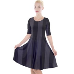 Black Stripes Quarter Sleeve A Line Dress