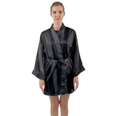 Black Stripes Long Sleeve Satin Kimono
