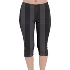 Black Stripes Velvet Capri Leggings