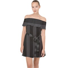 Black Stripes Off Shoulder Chiffon Dress