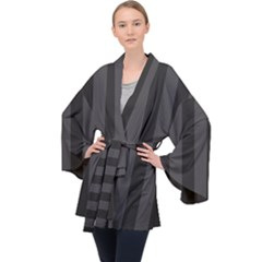 Black Stripes Long Sleeve Velvet Kimono